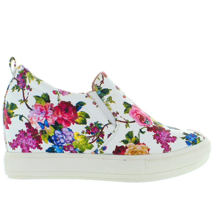 Wanted Petals - White/Multi Floral Platform/Wedge Sneaker