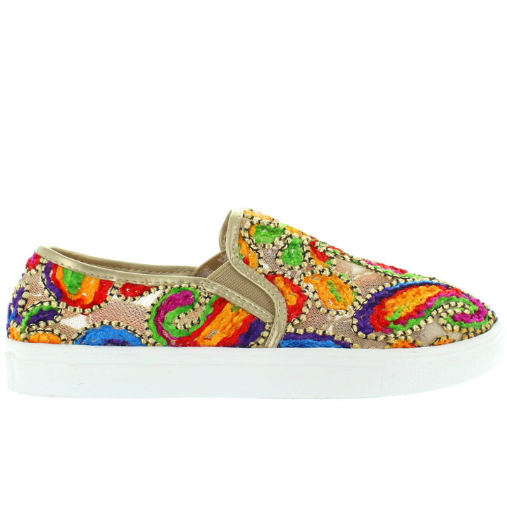 Wanted Renoir - Gold Mesh Embroidered Slip-On Platform Sneaker