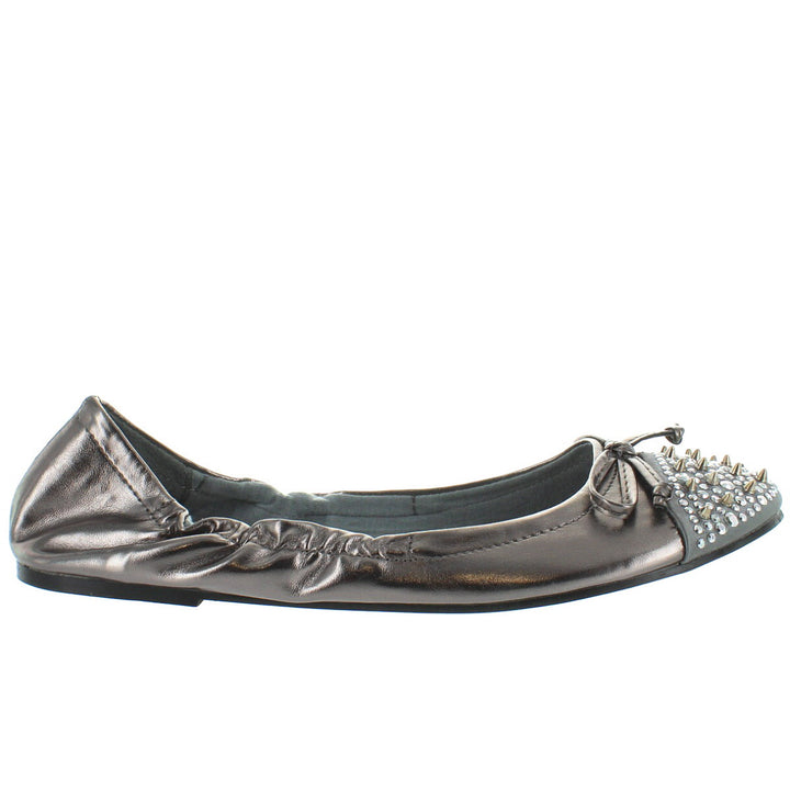 Wanted Spikey - Pewter Studded/Spiked Elasticized Ballet Flat
