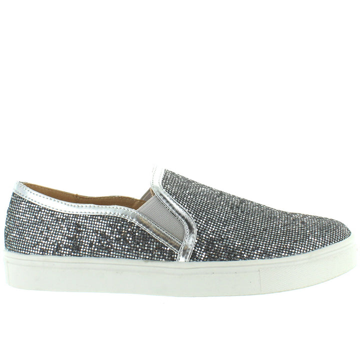 Wanted Studio 54 - Glitzy Pewter Slip-On Sneaker
