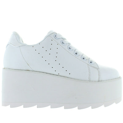 YRU Lala - White High Platform/Wedge Sneaker