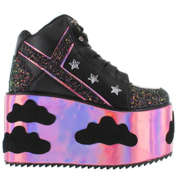 YRU Qomzo -Night Sky Mega Platform/Wedge High Top Sneaker