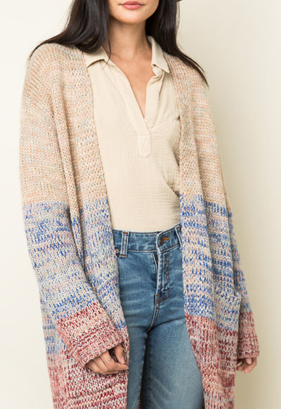 Kixters - Stone/Ombre Long Knit Cardigan