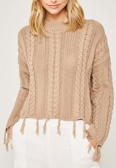 Kixters - Mocha Frayed Cable Knit Sweater