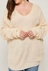 Kixters - Ivory Plunging Twist-Back Knit Sweater