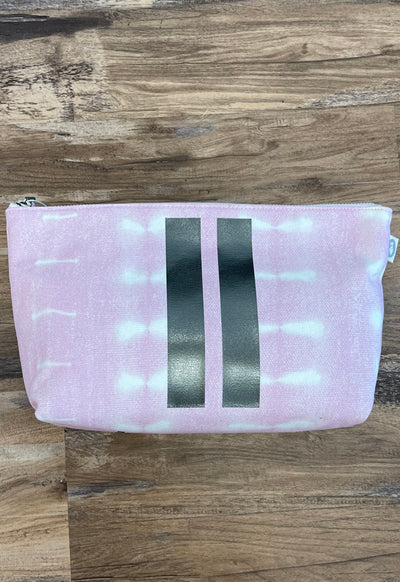 Quilted Koala - Clutch Pink Shibori Gunmetal Double Stripes