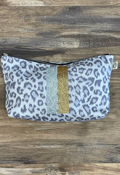 Quilted Koala - Clutch Grey Leopard with Silver & Gold Stripes