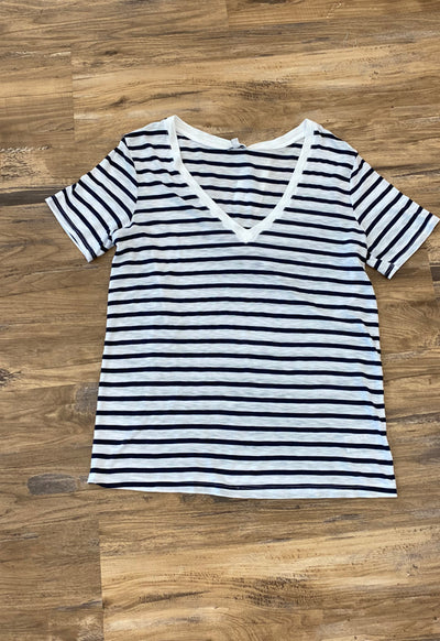 Splendid - Navy/Off White V Neck Stripe Slub Tee