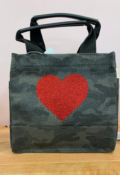 Quilted Koala - Mini Lux Bag Black Camo with Red Glitter Heart