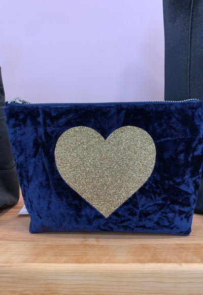 Quilted Koala - Makeup Bag Midnight Velvet with Gold Heart