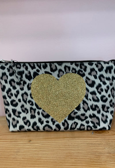 Quilted Koala - Clutch Bag Leopard Embellished with Gold Heart