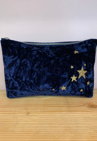 Quilted Koala - Clutch Bag Midnight Blue Velvet with Scattered Stars