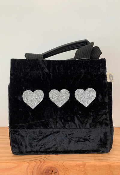 Quilted Koala - Mini Lux Bag Black Velvet with 3 Silver Hearts