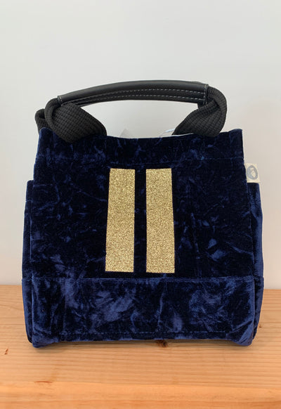 Quilted Koala - Mini Lux Bag Midnight Velvet with Two Gold Stripes