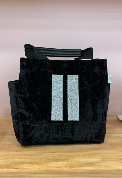 Quilted Koala - Mini Lux Bag Black Velvet with Two Gold Stripes