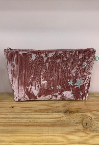 Quilted Koala - Clutch Bag Pink Velvet with Scattered Stars