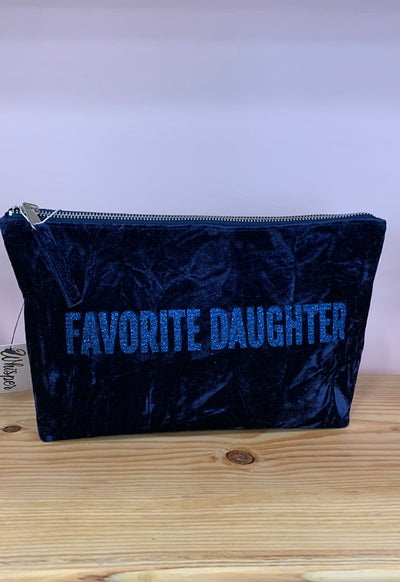 Quilted Koala - Clutch Bag Midnight Blue Velvet with Dark Blue Favorite Daughter