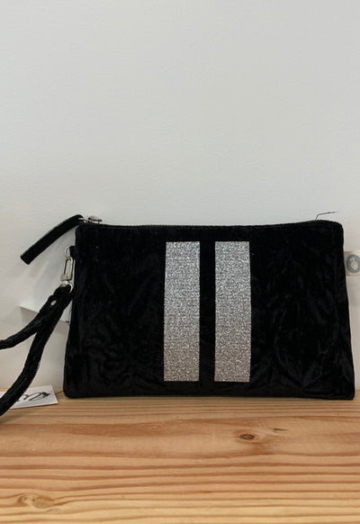Quilted Koala - Mini Clutch Black Velvet Two Silver Glitter Stripes