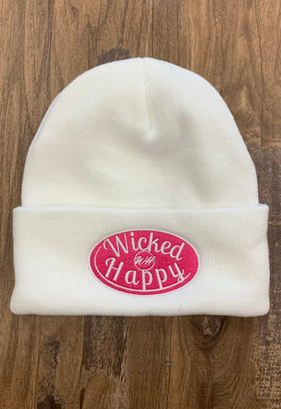 Wicked Happy - Signature Logo Beanie White Pink