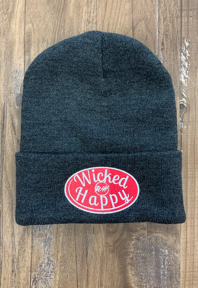 Wicked Happy - Signature Logo Beanie Red on Dark Grey