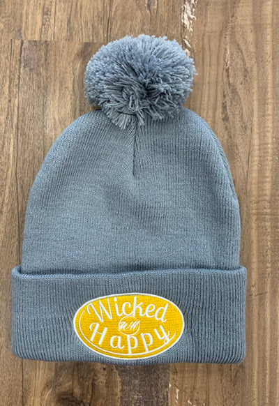 Wicked Happy - Grey Pom Pom Beanie with Yellow Logo