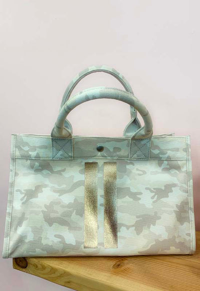 Quilted Koala - Midi East West Bag, Natural Camo with Two Gold Glitter Stripes