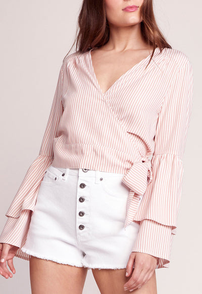 Jack - Making Waves Grapefruit Crisscross Long Sleeve Top