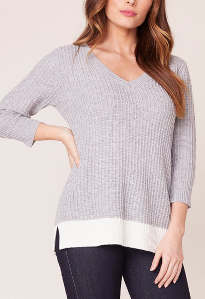 Jack - Ash Grey Block It Out V Neck Top