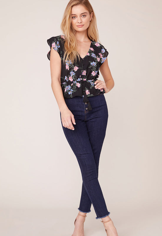 Jack - Black Floral Multi Here Comes The Bloom Top