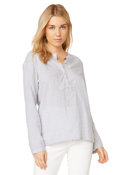 Jack - NavyWhite Multi Stripe Way Outta Linen Top