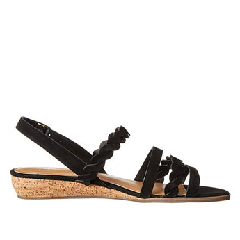 Bass Jolie- Black Wedge Nubuck Sandal