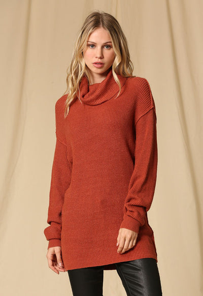 Kixters - Rust Long Sleeve Sweater Dress
