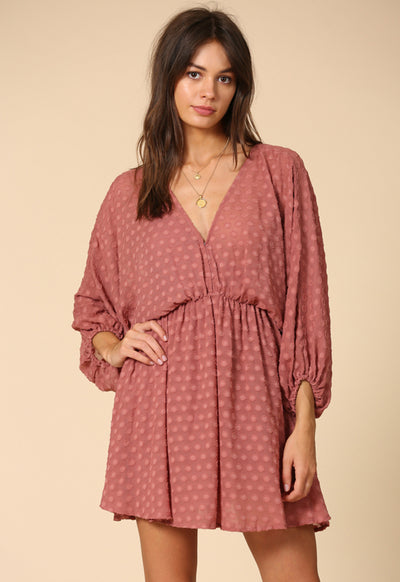 Kixters - Mauve Dotted Chiffon Mini Dress