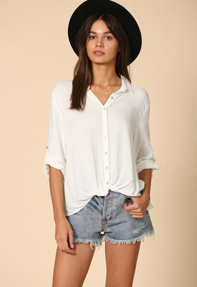 Kixters - Off White Button Down Collar Top