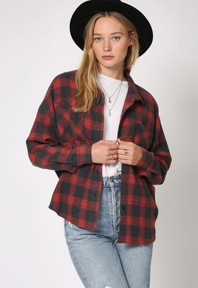 Kixters - Burgundy Multi Checker Button Down Boyfriend Shirt