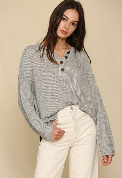 Long Wide Sleeve Placket Knit Oversized Sweater - Pewter