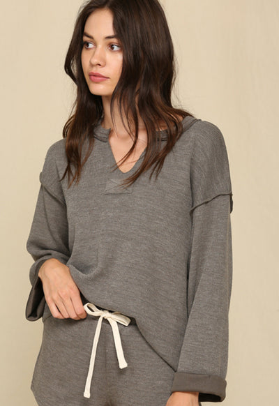 Kixters - Grey Long Sleeve V Neck Chunky Loose Top