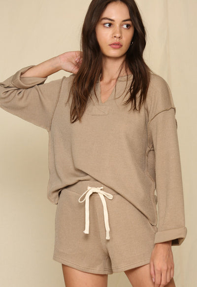 Taupe Long Sleeve V Neck Chunky Loose Top