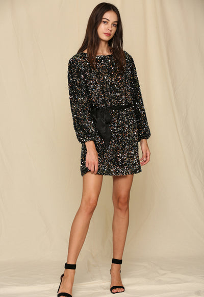 Multi Sequin Tie Waist Dress - Black Multi Sequin