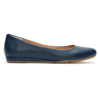 Me Too Alina - Navy Leather Low Wedge Slip-On Skimmer
