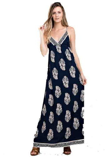 Navy/Ivory Border Neckline Print Maxi Dress