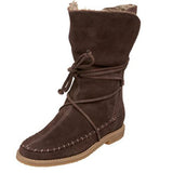 Jack Rogers Little Nell Boot - Brown Suede Faux Fur