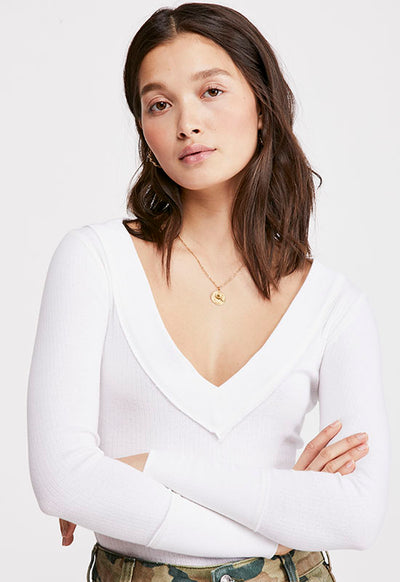 Free People - Sienna White Long Sleeve Tee