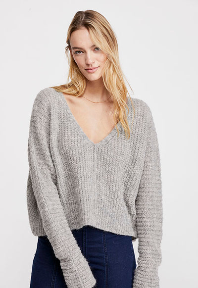 Free People - Light Grey Moonbeam V Neck Sweater
