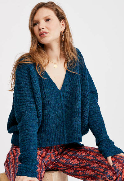 Free People - Blue Moonbeam V Neck Sweater