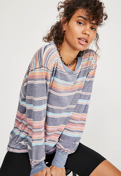 Free People - Grey Multi Stripe Arielle Long Sleeve Top