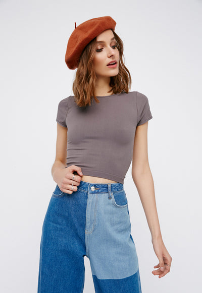 Free People - Cap Sleeve Seamless Crop Charcoal