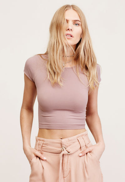 Free People - Cap Sleeve Seamless Crop Mink
