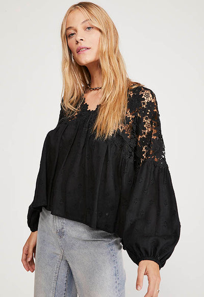 Free People - Black Lace Lina Long Sleeve Top