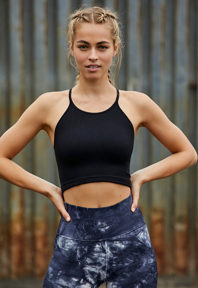 Free People - Cropped Run Tank Black